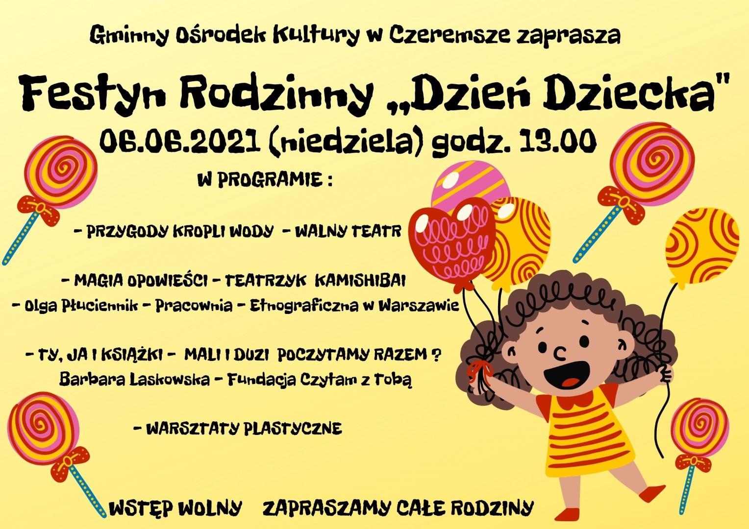 """Festyn Rodzinny """"Dzień Dziecka"""" 06.06.2021 godz.13:00"""
