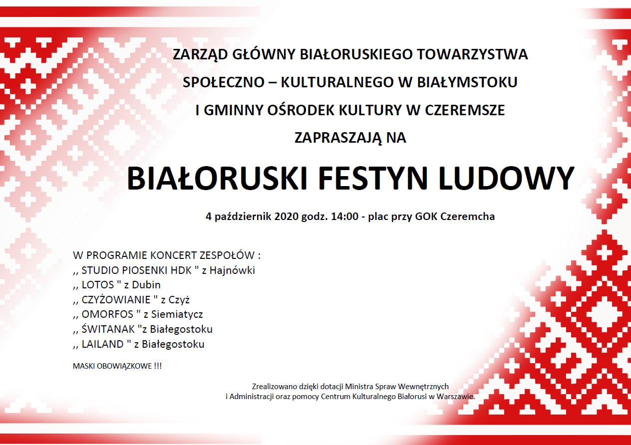 Białoruski Festyn Ludowy 04.10.2020 14:00 plac GOK Czeremcha - plakat